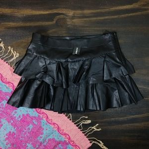 NWT Express faux leather tiered mini skirt